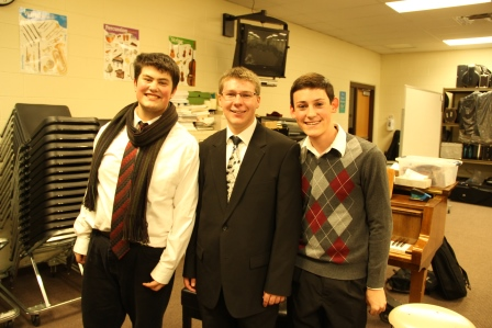Three of the four choir boys after a wonderful performance. (From left to right: Gustavo Ugueto--Rey, Jack Dinkel and David Tyree '14)