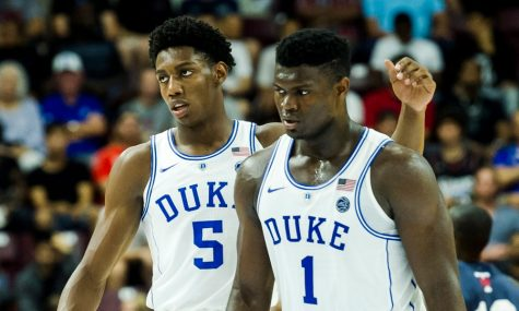 College basketball players Zion Williamson and RJ Barret
